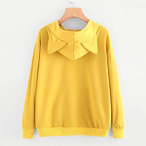 Vêtements LILICAT Chandail à capuchon à manches longues pour femmes Chandail à manches longues pour femmes I am CAT yellow