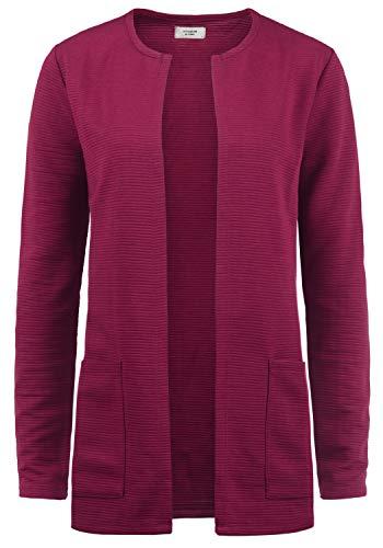 ONLY SWEA Damen Langer Cardigan Jacke Longjacke Mit Offenem V-Ausschnitt, Größe:XL, Farbe:Red Plum