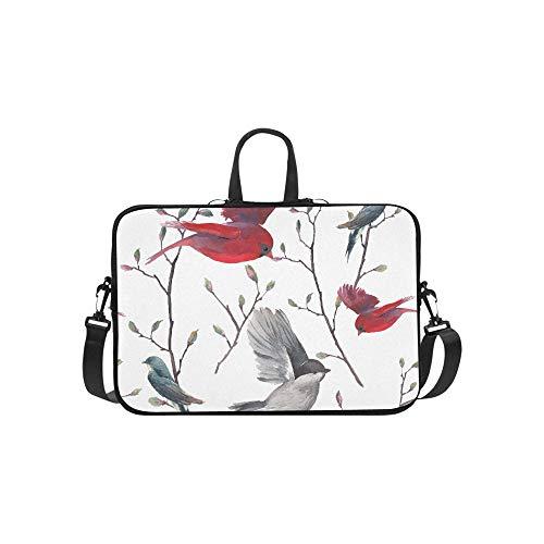 Niedliche Schwalbe Vögel und Blumen Muster Aktentasche Laptoptasche Messenger Schulter Arbeitstasche Crossbody Handtasche für Geschäftsreisen -