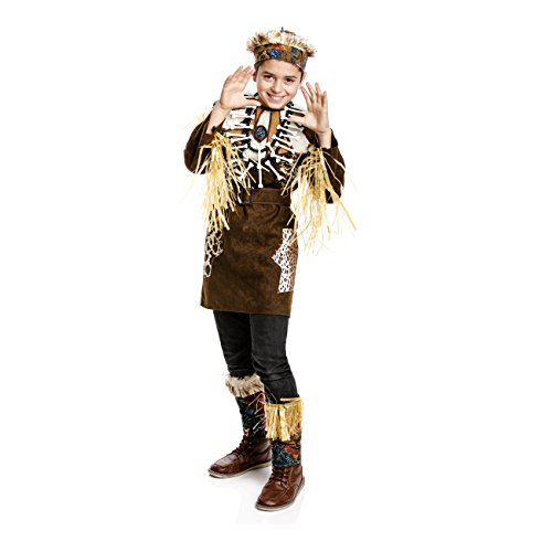 Kostümplanet® Afrika-Kostüm Kinder Afrikaner Häuptling Dschungel Safari Größe 128 (Safari Kostüm Kind)