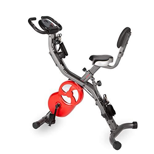 Ultrasport Computer und Pulssensoren, 8X F-Bike 700BS Pro Heimtrainer, Ergometer mit Trainingscomputer und Handpulssensoren, mit 8-Fach einstellbarem Widerstand, dunkelgrau rot