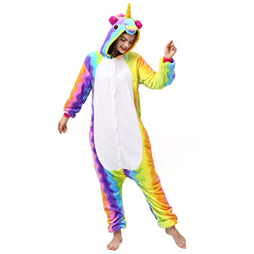 Katara 1744 kigurumi unisex adulti costume animale pigiama intero carnevale, unicorno arcobaleno, 145-155cm