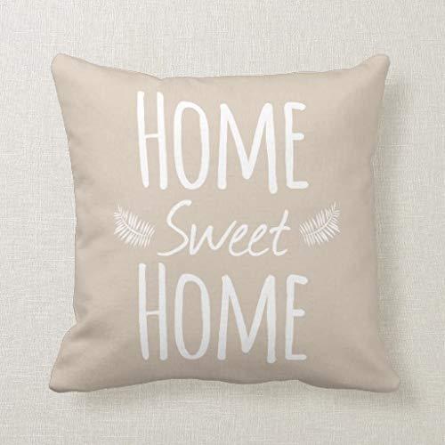 CELYCASY, Federa Decorativa per Cuscino con Scritta in Inglese Home Sweet Home, per Divano e Camera da Letto, 45,7 x 45,7 cm