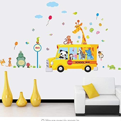 anda Giraffe Tiere Schulbus Auto Abziehbilder Wandaufkleber Für Kinderzimmer Kind Baby Kindergarten Kindergarten Party Versorgung ()