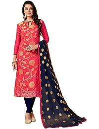 Women'S Pink Semi Stitched Woven Banarasi Silk Dress Material SMFGLMR1005