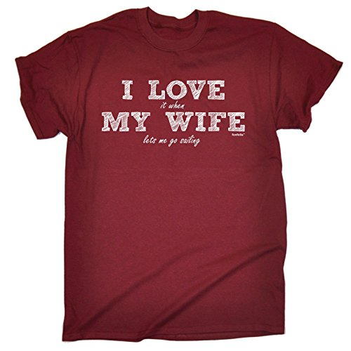 123t Slogans Men's I Love IT When My Wife Lets Me Go Sailing Men's T-Shirt