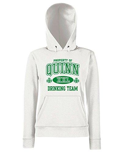 T-Shirtshock - Sweats a capuche Femme TIR0167 quinn irish drinking team ringer t Blanc