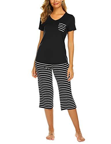 Unibelle Damen Schlafanzug Nachthemd Kurz Sleepshirt Sommer Pyjama Nachtwäsche Hausanzug Kurzarm Rund Ausschnitt S-XXL - Pyjama-hose Loungewear