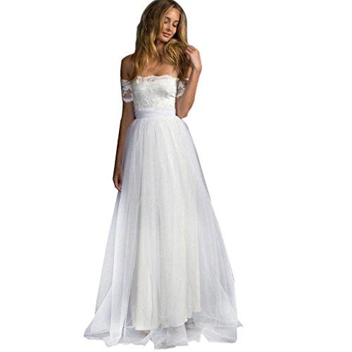 Spitze Kleid, Huihong Damen Brautjungfer Kleid Elegant Aus Schulter Spitze Formale Lange Maxi Abend Party Prinzessin Kleid (Weiß, S) (Ärmel Lange Schulter Off Spitze)