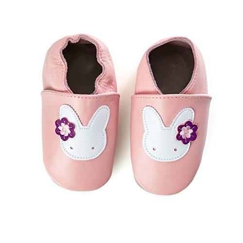 smileBaby Premium Leder Lauflernschuhe Krabbelschuhe Babyschuhe Rosa Hase 0 bis 6 Monate