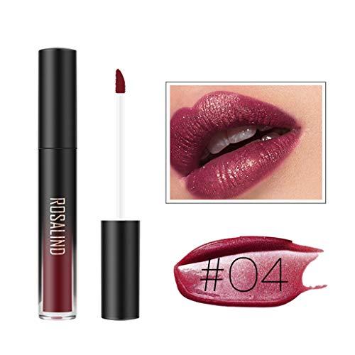 ROSALIND Fashion Waterproof Glitter Liquid Lipstick Cosmetic Sexy Lip Gloss (D)