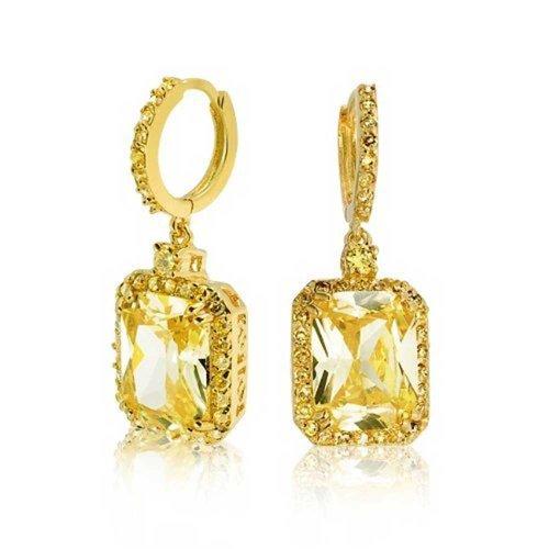 Bling Jewelry Gold Tone CZ cerchio di Huggie taglio smeraldo citrino colore ciondola gli orecchini
