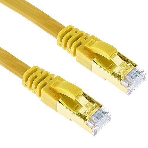 G-Shield 2m Cat7 Ethernet LAN Kabel 10 Gigabit 600MHz RJ45 Flachkabel - 2 Meter Gelb