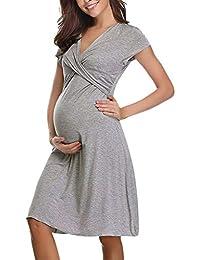 Topgrowth Camicia da Notte Allattamento Vestiti Premaman Pigiama Donna  Abito Manica Corta Premaman maternità Infermieristica Allattamento c6da3d7b977