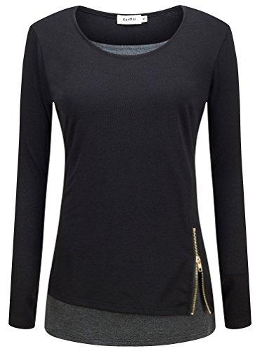 KorMei Damen Langarmshirt Rundkragen Layered Zip Faux Twinset T-Shirt Schwarz&Dunkelgrau M