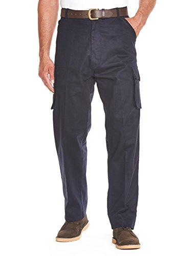 Cotone da uomo cargo lato elasticizzato pantaloni da lavoro pantaloni color marina militare 52w x 29l