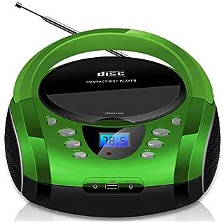 Tragbare Boombox | CD/CD-R | USB | FM Radio | AUX-In | Kopfhöreranschluss | CD-Player | Kinder Radio | Boombox | CD-Radio | Stereoanlage | Kompaktanlage (Silverstone Green)