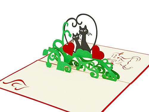 Gefühlvolle Karte für einen lieben Menschen, 3D Pop-Up Gruß-Karte mit verliebten Katzen für Liebes-Grüße, hochwertiges Geschenk zu Hochzeit und Verlobung