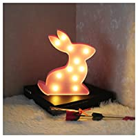 Vimlits Cute Rabbit shape Animal Warm White 11LED Night Light Children Kids Bedside Lamps Battery Opeed Marquee Light-Pink