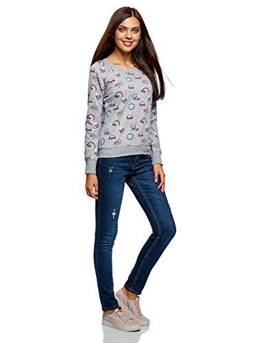 oodji Ultra Femme Sweat-Shirt Basique Imprimé Gris (2370Q)
