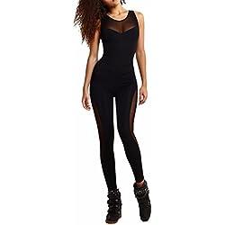 QIYUN.Z Les Femmes Sans Manches Maille Pantalon Noir Patchwork Du Sport Yoga Jumpsuit Backless, Noir, S