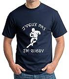 Idée Cadeau rugbyman Tee-Shirt Rugby Humour. J'peux Pas J'Ai Rugby. T-Shirt Homme Coton col Rond.