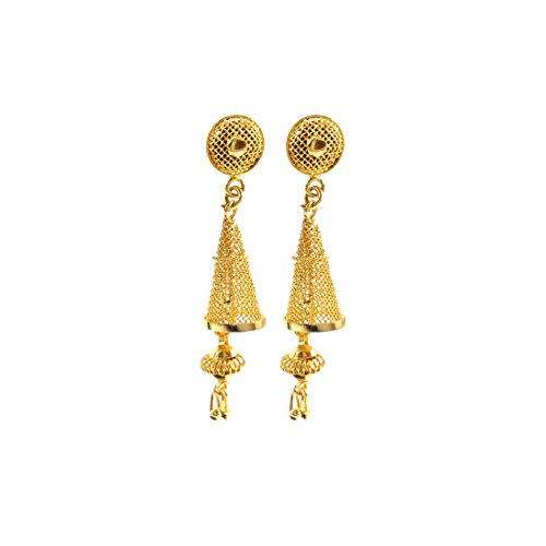 Luxaim Stylish Designer Gold Plated Clip On Earrings for Girls, Women, Ladies with Dazzling Ethnic Traditional Jhumka/Jhumki Dangle Earrings New Party Wear Fancy Special Fashion Wedding Collection Accessories Design at Low Price Cost Great for Jewellery Gift for Girlfriend & Sister  available at amazon for Rs.249