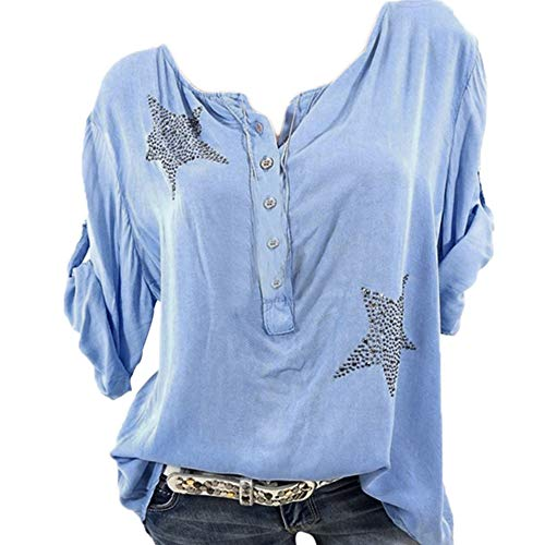 Bluse Damen Herbst Shirt Knopf Fünfzackigen Stern Hot Drill Tops Oberteil Langarm 3/4 Ärmel O-Ausschnitt Sweatshirt Langarmshirt Lose Hemd Tunika - Leder-drei-knopf-blazer