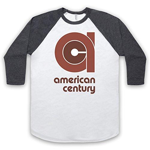 Vinyl American Century Record Label 3/4 Hulse Retro Baseball T-Shirt Weis & Dunkelgrau