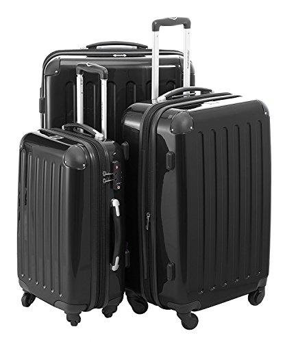 Hauptstadtkoffer Modell Alex 3er Kofferset Hartschale Trolleys schwarz-Hochglanz 119l,74l,42 l Zahlenschloß 4 cm Dehnfalte,ineinander stapelbar