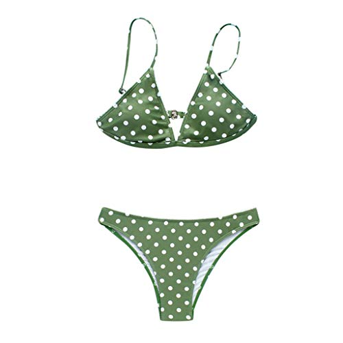 SEYMI Bikini Frauen Bademode Weibliche Frauen Bikini Set Dot Print Hohe Taille Badeanzug Bademode Beachwear Badeanzug, Grün, M Pink-green-dot Kleid