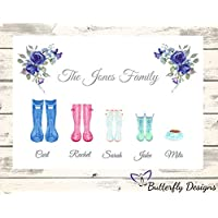 Personalised Watercolour Family Wellington Boots A4 PRINT Picture Design 5