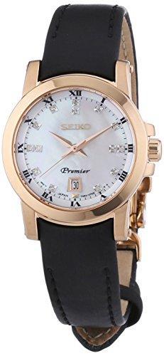 Seiko Premier - Reloj de cuarzo para mujer, con correa de cuero, color negro