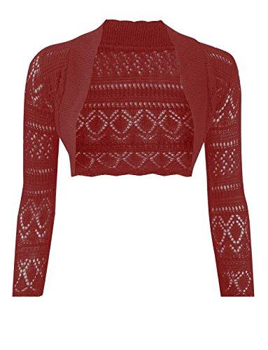 Baleza femme Taille s Croshet Boléro en tricot à manches longues avec haut court Rouge - Bordeaux