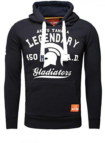Akito Tanaka Herren Sweatshirt Hoodie Pullover Sweater mit Kapuze Kapuzenpullover Kontrast Look Optik Slimfit Dunkelblau