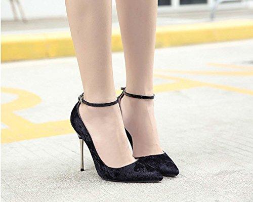 NobS Mode Femme Or Velours Shallow Cone Heel Femme Word Boucle Bas Talons Haute Printemps Automne Suède Caoutchouc Chaussons Black