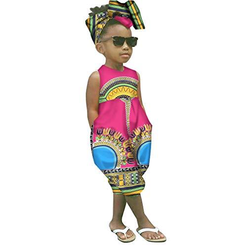 Janly_Top Kinder Kleiden,Janly Kleinkind Baby Mädchen Afrikanischer Druck Sleeveless Spielanzug Haarband Overall Kleidung (90, Rot)