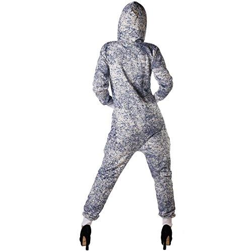 Crazy Age Jumpsuit Ganzkörperanzug Strampler Schneeflocken Batik für Damen (XL, Navy (2640)) - 3