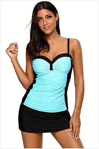 CXQWAN Damen Badeanzug Bikini Blue Stripe Sling Drapierte Belted Ohne Stahl Rock Schwimmen Beach Comfort Zweiteilige Bademode,L - Belted Bikini-badeanzug
