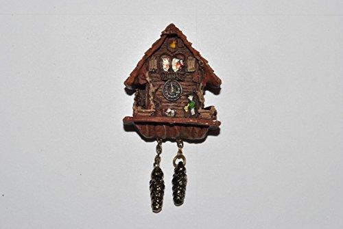Unbekannt Miniatur Kuckucksuhr / Wanduhr - für Puppenstube - Maßstab 1:12 Porzellan / Kermik - Reutter - Puppenhaus Uhr Schwarzwald - Wohnzimmer Eßzimmer Nostalgie