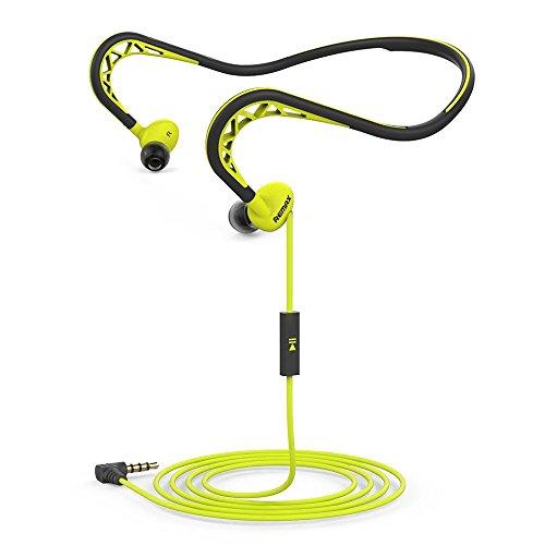 Remax Nackenbügel Sport Kopfhörer, Workout Kopfhörer mit Mikrofon, Stereo-Headset mit Geräuschunterdrückung, Schweiß-in-Ear-Kopfhörer mit 3,5mm Klinke für iPhone Android (gelb) von Soar Plus
