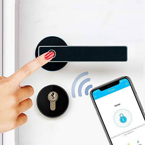 SOREX FLEX Bluetooth Türgriff mit Fingerprint - Schnelle, einfache Montage, stufenlos verstellbar, ideal zum Nachrüsten, optimal für Kinder, wasserdicht, schmutz- und ölresistent, mit österr. Support!