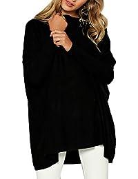 Jersey Cuello Barco Mujer Flojos Sueter Punto Blusa Manga Murcielago Tallas Grandes Camiseta Asimétrica Moda Pullover Sweater Baggy Jumper Camisa Larga Suelto Otoño Invierno Tunica Tops Color Sólido