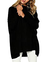 Jersey Cuello Barco Mujer Flojos Sueter Punto Blusa Manga Murcielago Tallas Grandes Camiseta Asimétrica Moda Pullover