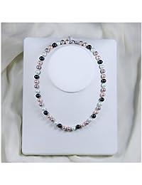 Schmuckwilly Muschelkernperlen Perlenkette Perlen Collier - multifarbig Hochwertige Damen Halskette aus echter Muschel 8mm mk8mm138