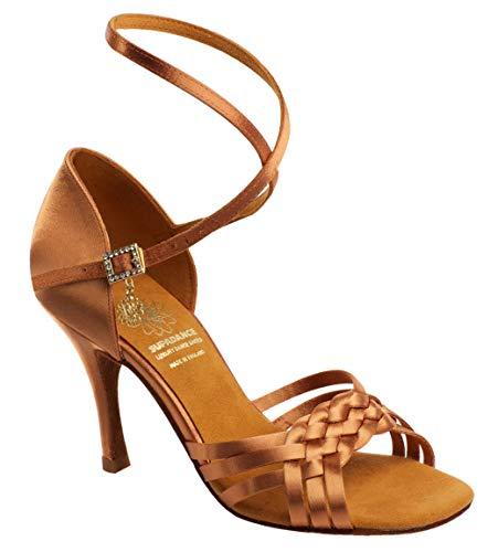 Supadance Style 1178 - Dark Tan Satin Damen Tanzschuhe - Lateinische Sandale mit geflochtener Front, Langer Riemen, Dark Tan Satin, Dark Tan - Größe: 38.5