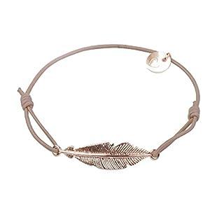 lua accessories - Armband Damen - Elastikband - größenverstellbar - hochwertig vergoldetes Federmotiv - Small Feather rose (taupe)