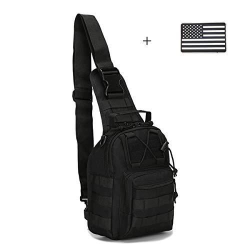 Dunnta Tactical Sling Bag Militär Sport Tasche EDC Molle Pack Daypack für Camping Wandern Trekking mit USA Flagge Patch, Unisex, schwarz (Usa Patch Molle)