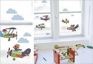 Stickers Electrostatiques Vitres Fenetre Enfant Avions