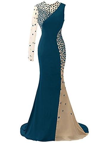 HUINI Robes de Crystal Sheer Une ¨¦paule Longues Robes de Bal Mermaid Party Soir¨¦e Size 52